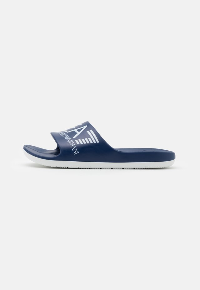 UNISEX - Pool slides - navy/white