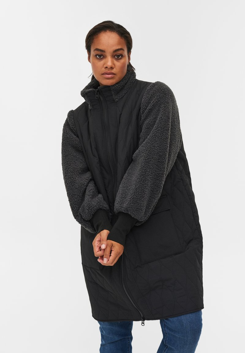 Zizzi - QUILTED TEDDY  WITH POCKETS - Down coat - black comb