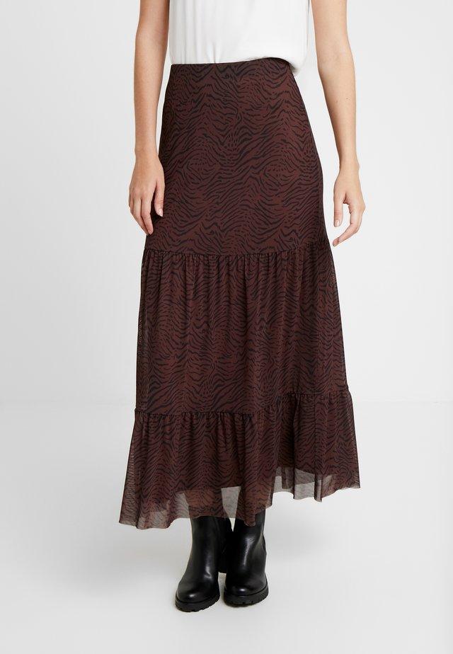 HOVET SKIRT - A-line skirt - brown/black