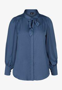 Zizzi - MIT BINDEDETAIL - Button-down blouse - dark blue - 3