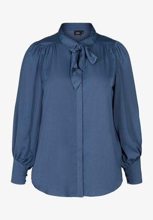 MIT BINDEDETAIL - Button-down blouse - dark blue