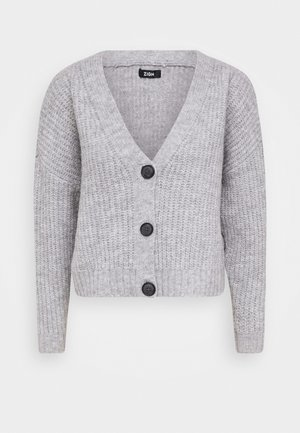 CROPPED CHUNKY CARDIGAN - Kardigan - mottled light grey