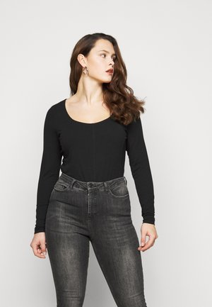 SEAMED - Long sleeved top - black