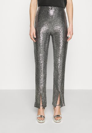 AIRY GLITTER TROUSERS - Tygbyxor - silver/black