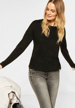 MIT LEICHTER STRUKTUR - Long sleeved top - schwarz