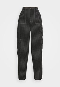 Missguided - PINSTRIPE WIDE LEG TROUSER - Kapsáče - black - 5