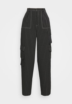 PINSTRIPE WIDE LEG TROUSER - Cargo trousers - black