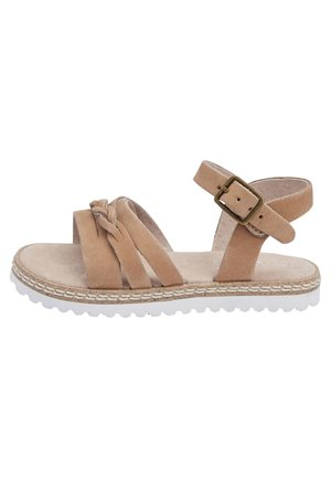 GOLD LEATHER PLAIT SANDALS (YOUNGER) - Sandals - brown