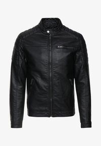 Jack & Jones - JJEROCKY JACKET - Imitert skinnjakke - black - 5