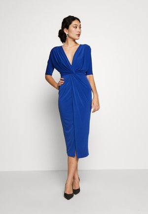 FRONT KNOT SLEEVE MIDI DRESS - Jerseyjurk - cobalt