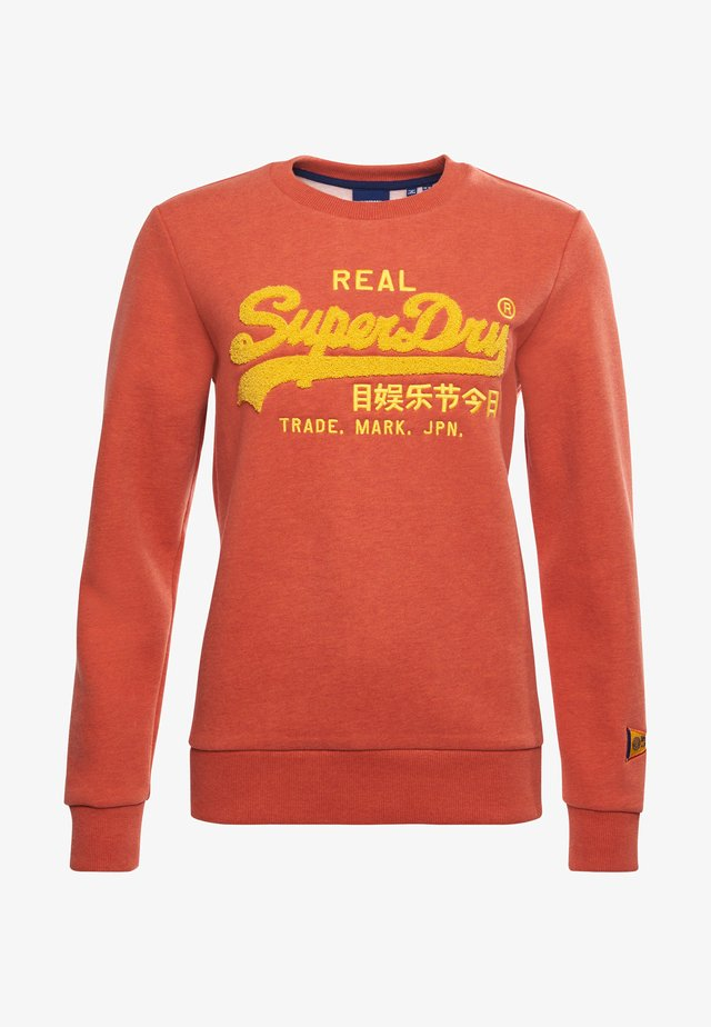 SUPERDRY VINTAGE LOGO CHENILLE - Sweatshirt - rust orange marl