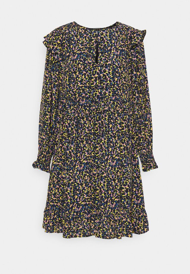 PRINTED DRAPEY DRESS WITH SHOULDER RUFFLES - Sukienka letnia - multicoloured