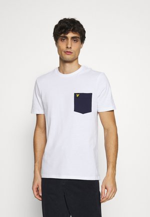 CONTRAST POCKET - T-shirt med print - white/navy