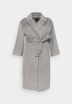BELTED WRAP COLLAR COAT - Mantel - grey