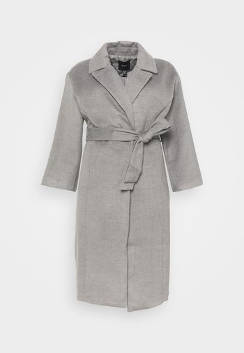 BELTED WRAP COLLAR COAT