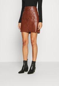Esqualo - SKIRT FANCY WAISTBELT - Mini skirt - brown - 0