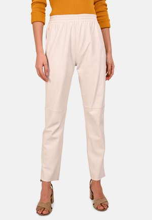 GIFTER - Leather trousers - white
