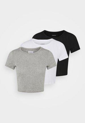 3 PACK - T-shirts - black/mottled grey/white