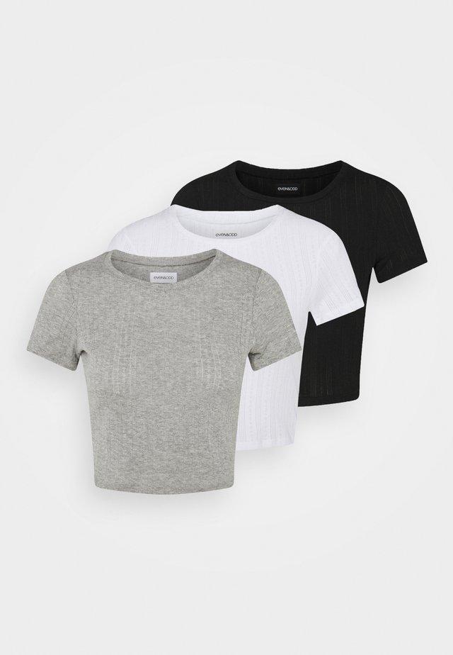 3 PACK - Jednoduché triko - black/mottled grey/white