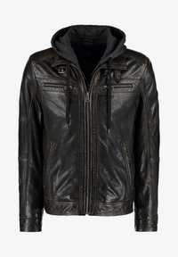 DNR Jackets - MIT KAPUZE UND ÄRMELBüNDCHEN - Leather jacket - black - 0