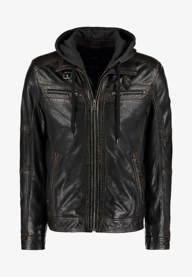 MIT KAPUZE UND ÄRMELBüNDCHEN - Leather jacket - black
