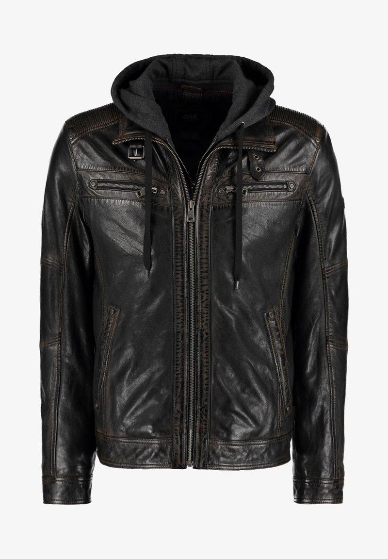 DNR Jackets - MIT KAPUZE UND ÄRMELBüNDCHEN - Leather jacket - black