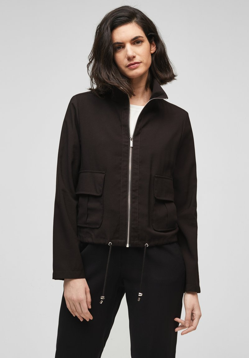 s.Oliver BLACK LABEL - MIT DURCHZUGKORDEL - Summer jacket - true black