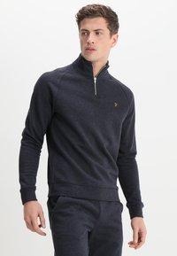 Farah - JIM ZIP - Sweatshirt - true navy marl - 0