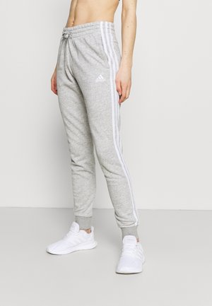 ESSENTIALS FRENCH TERRY STRIPES PANTS - Spodnie treningowe - medium grey heather/white