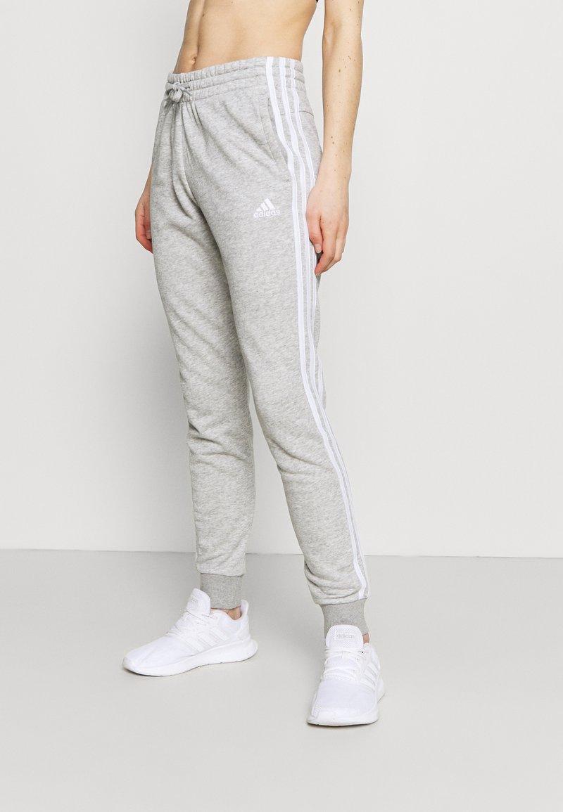 adidas Performance - ESSENTIALS FRENCH TERRY STRIPES PANTS - Pantaloni sportivi - medium grey heather/white