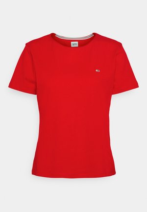 SLIM CNECK - T-shirts - deep crimson