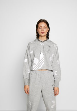 ADICOLOR LARGE LOGO CROPPED HODDIE SWEAT - Mikina s kapucí - grey/white
