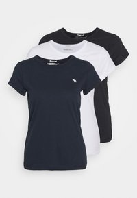 Abercrombie & Fitch - CREW 3 PACK - T-shirt basic - black/white/navy - 0