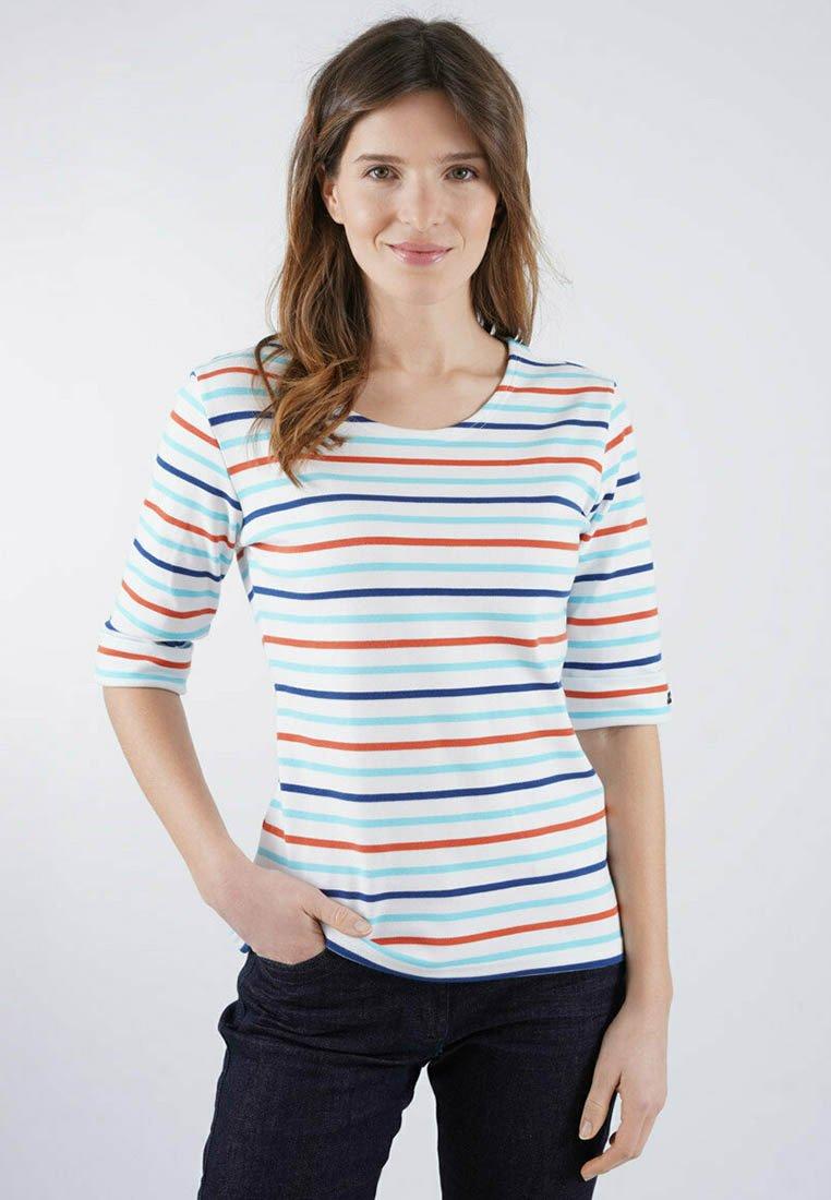 Armor lux - Print T-shirt - blanc/rivage/orange henné/dunkermarine