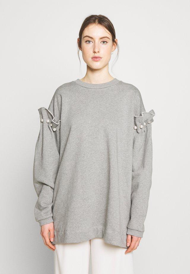 WITH PEARL SHOULDER - Sweatshirt - grey
