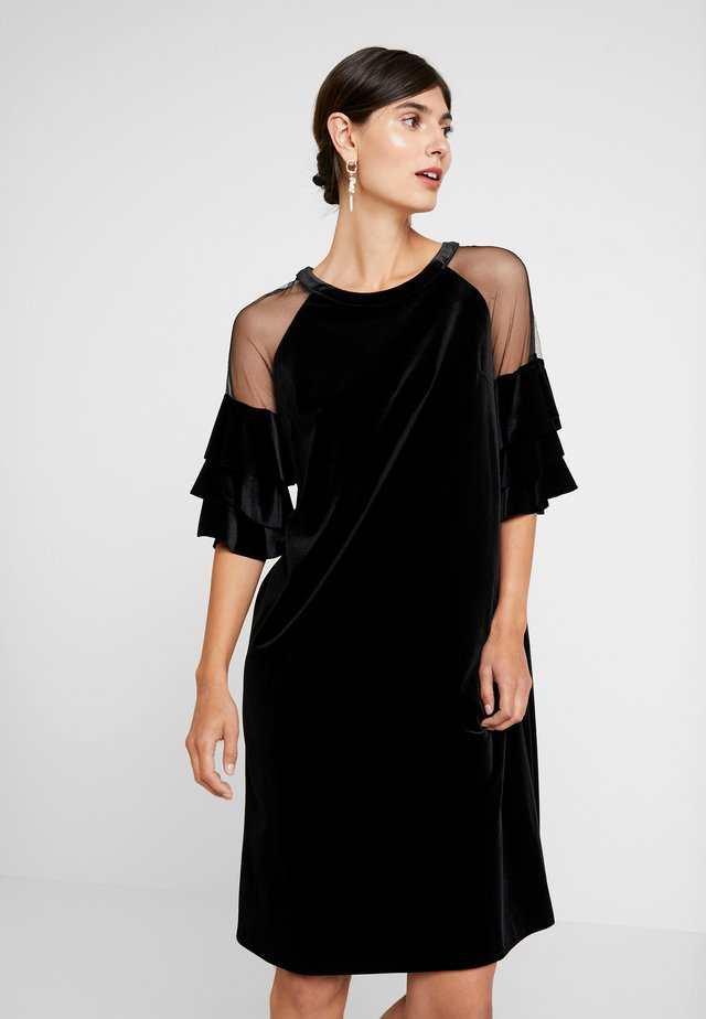 VELVET DRESS WITH VOLANTS - Cocktail dress / Party dress - black