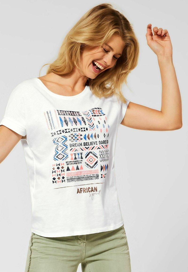 Cecil - MIT ETHNO-PRINT - Print T-shirt - weiß