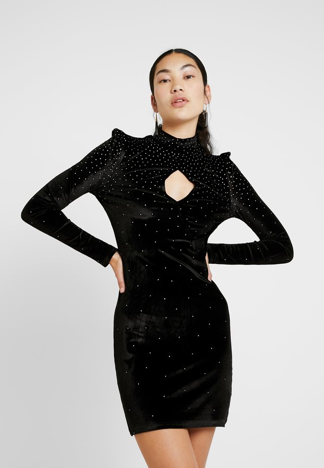 ROWLER FASHION UNION DIAMANTE BODYCON DRESS - Juhlamekko - black