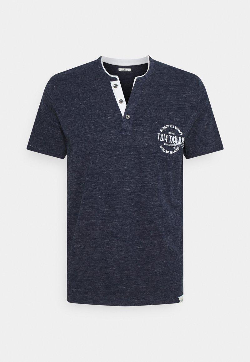 TOM TAILOR - COLORFUL NEP HENLEY - T-shirt med print - sailor blue melange