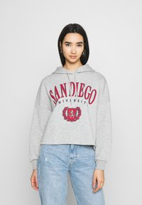 Even&Odd - OVERSIZED CROPPED PRINTED HOODIE - Jersey con capucha - mottled light grey - 0