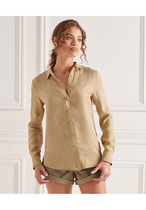 Button-down blouse - classic tan