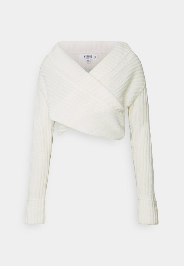 WRAP FRONT JUMPER - Jumper - white