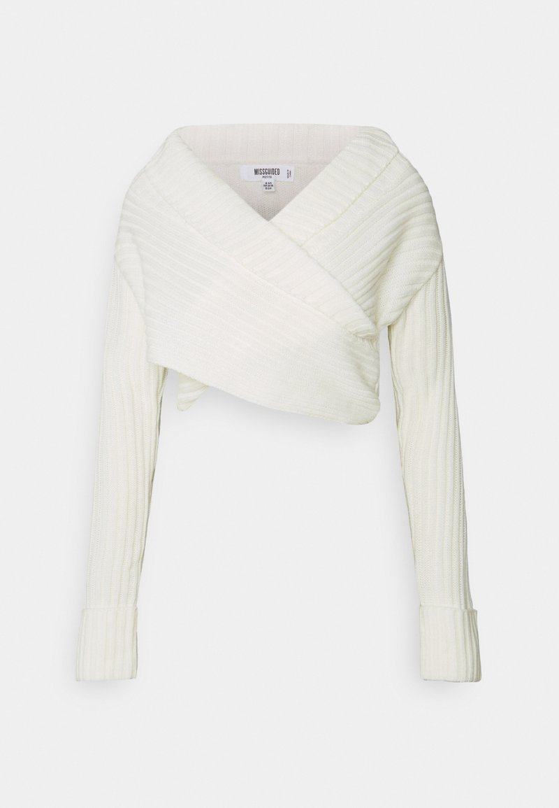 Missguided Petite - WRAP FRONT JUMPER - Pullover - white
