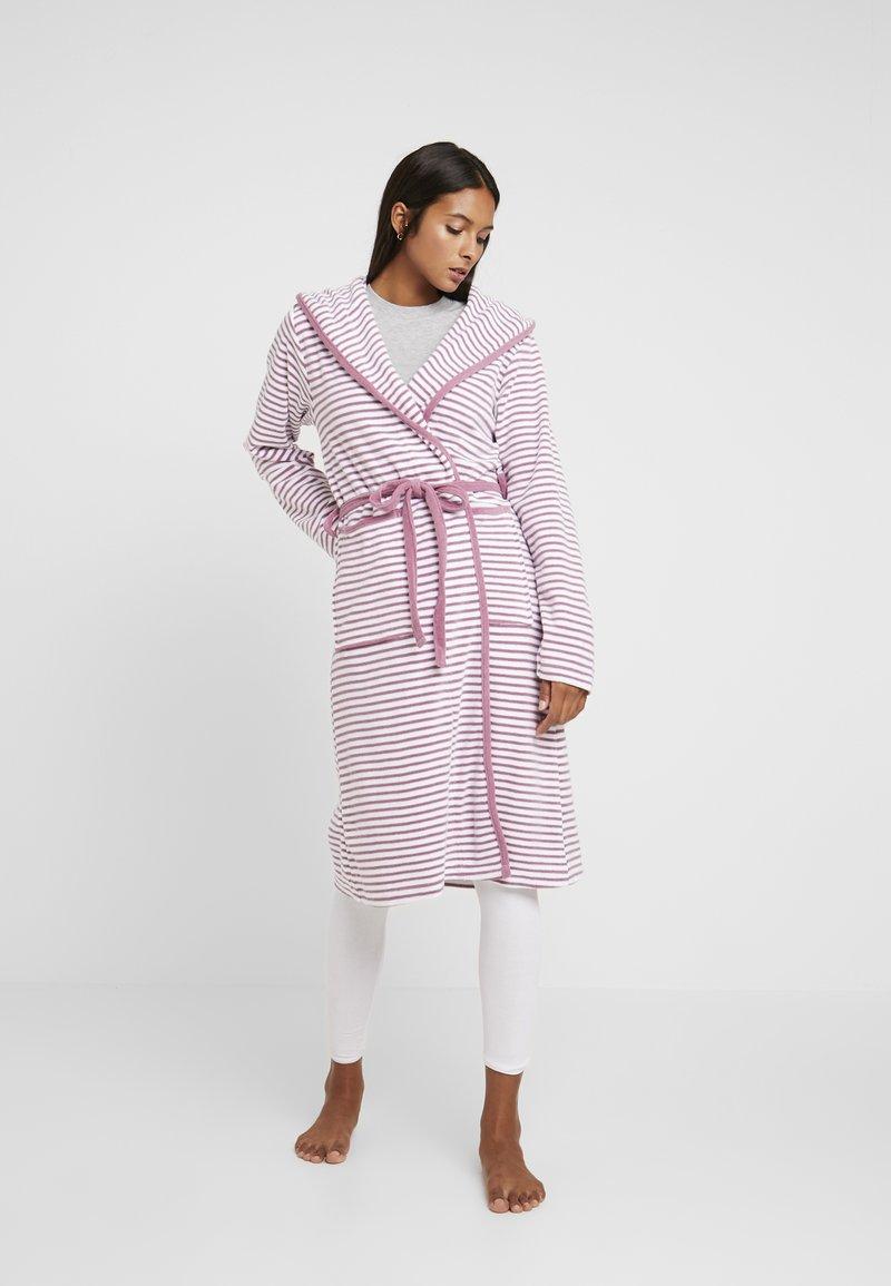 TOM TAILOR - STRIPE BATHROBE - Dressing gown - mauve
