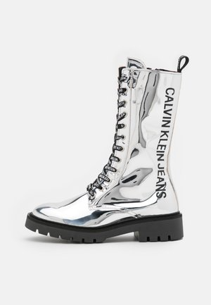 COMBAT MID LACEUP BOOT - Lace-up boots - silver mirror