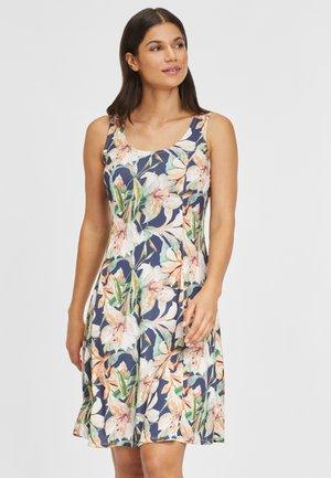 Jersey dress - marine-apricot-bedruckt