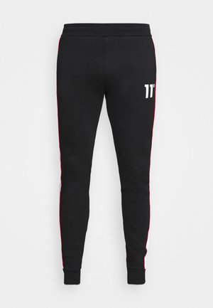 COLOUR BLOCKED PIPED JOGGERS - Tracksuit bottoms - black/white/goji berry red