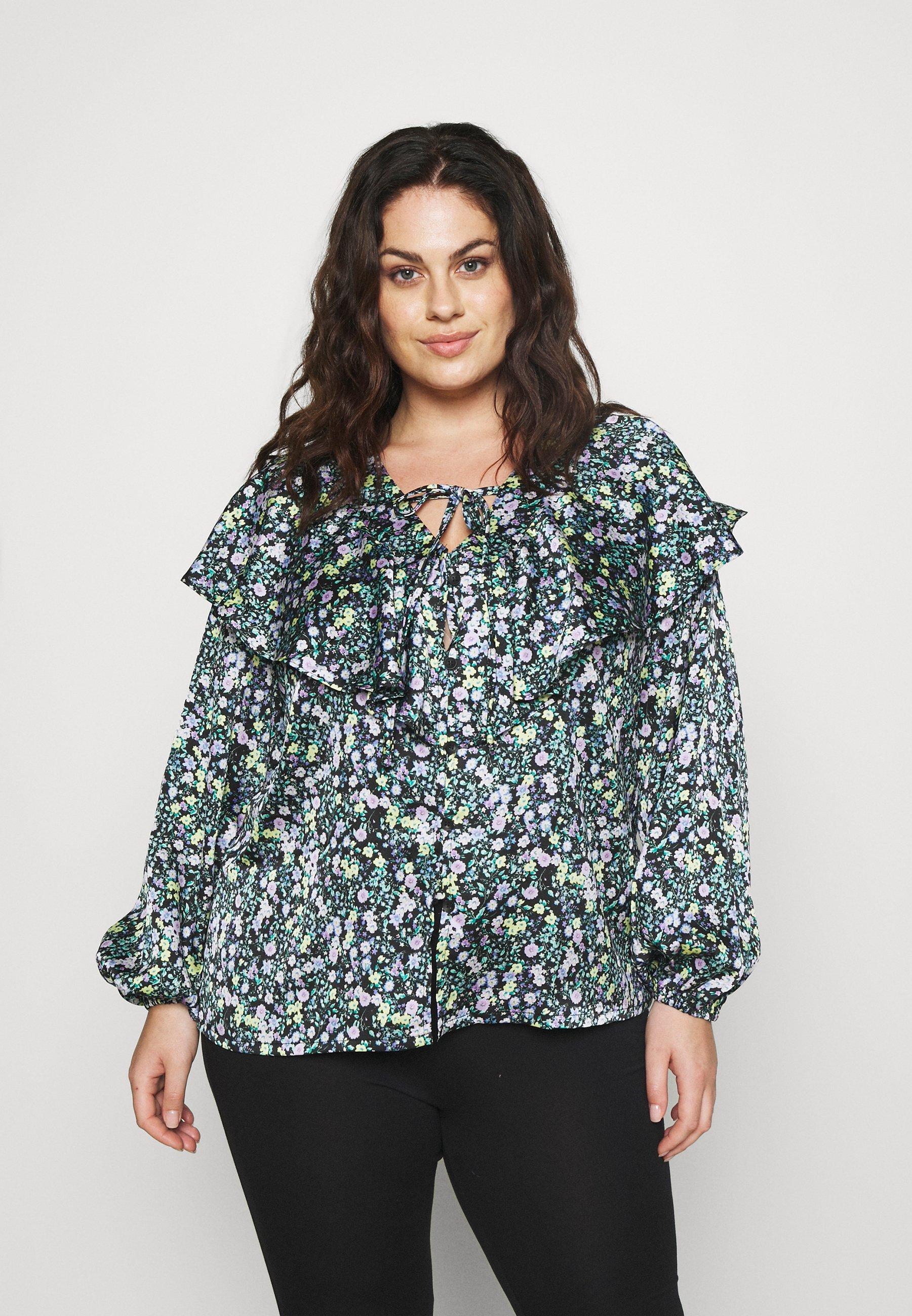 Women RUFFLE FRONT BLOUSE - Long sleeved top