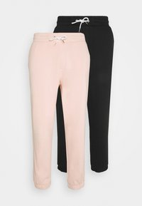 YOURTURN - UNISEX  JOGGERS - Tracksuit bottoms - black_pink - 0