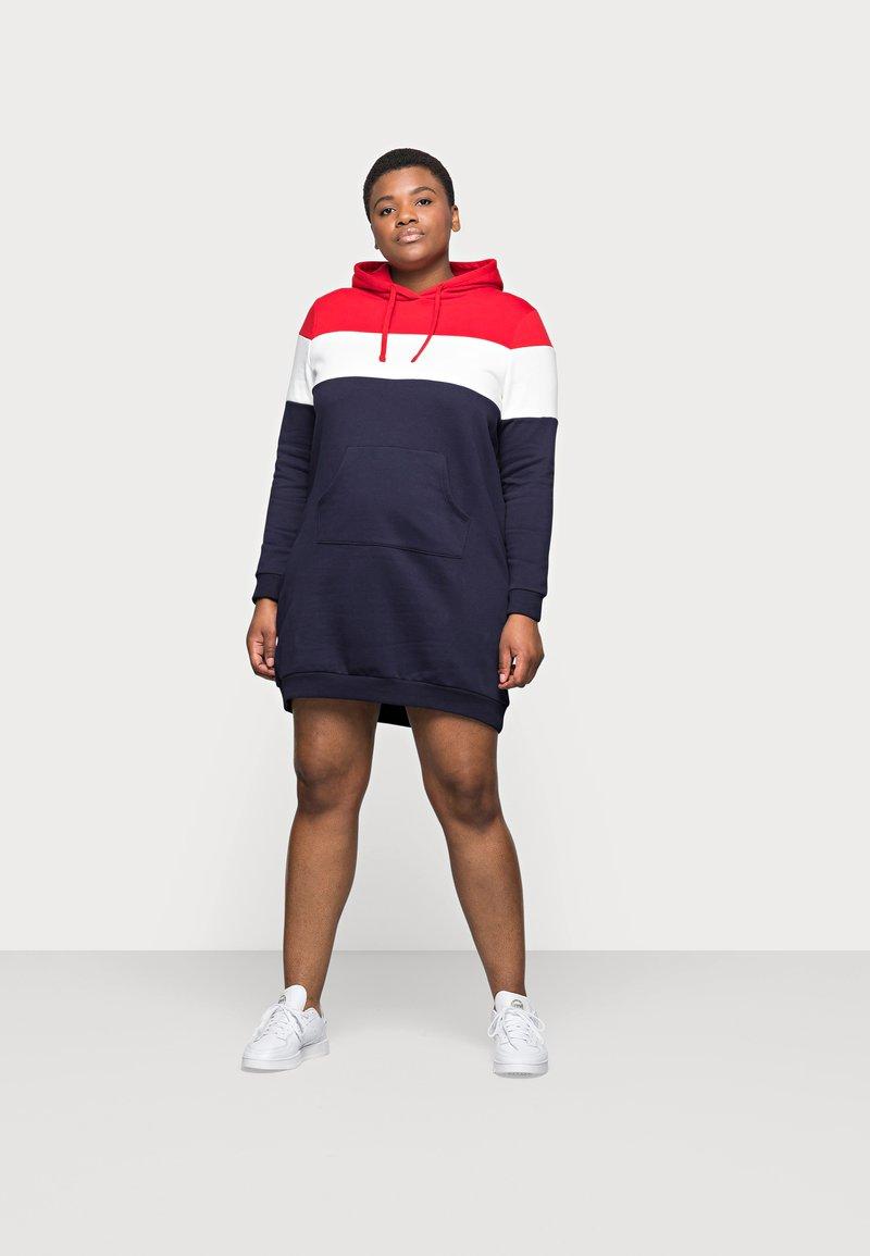 Even&Odd Curvy - Day dress - red/white/dark blue